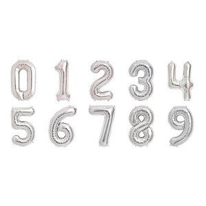 Sifferballonger - Silverfärgad folie - 41 cm