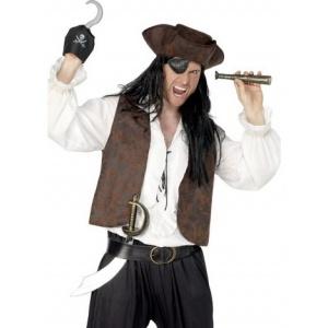 Pirat set svärd krok ögonlapp och teleskop
