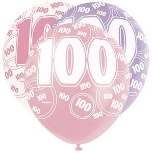 100-års födelsedagsballonger - rosa & lila - 30 cm latex - 6 st