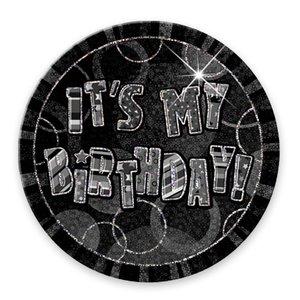 "Svart födelsedagsknapp ""It´s my birthday"" - 15 cm"