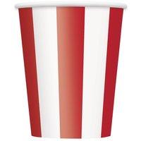 Randiga pappersmuggar - Röda & vita - 35 cl 6 st