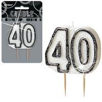 40-års födelsedagsljus - svart
