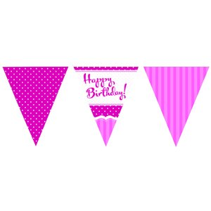 Perfectly pink happy birthday vimplar - papper 3.7m