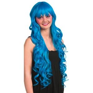 Lång blå peruk med lockar