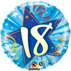 Rund ljusblå folieballong för 18-årsdagen - 46 cm