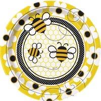 Papperstallrikar - Busy bees 25cm 8 st