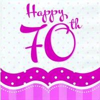 Rosa pappersservetter till 70-årsdagen 2-lagers - 18 st