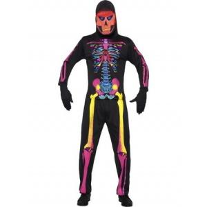 Skelett maskeraddräkt neon
