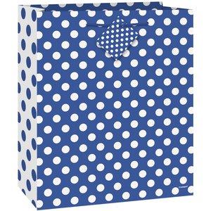 Blå prickig presentpåse