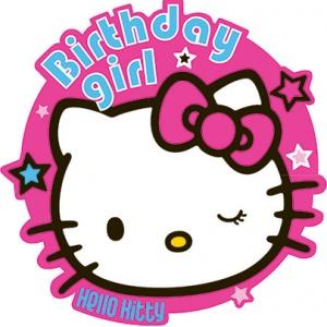 Hello kitty princessparty födelsedagsknapp