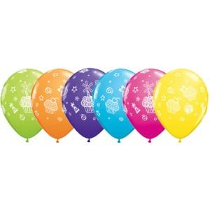 Cupcakes & presenter blandade ballonger - 28 cm latex - 6 st