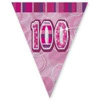 100-års födelsedag rosa vimpelbanderoll - plast 3,65m