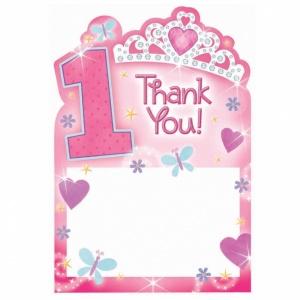 """1-års födelsedag Prinsessa - Tackkort - """"Thank You"""" - 20 st"""
