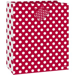 Röd prickig presentpåse