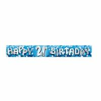 Födelsedagsbanderoll blå för 21-årsdagen - 2,7m