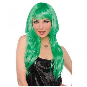 Grön glamourös långhårsperuk