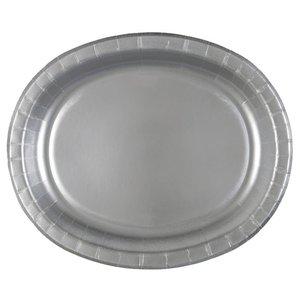 Silvriga ovala papperstallrikar - 30 cm 8 st
