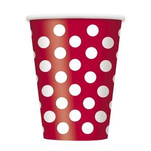 Röda prickiga pappersmuggar - 340 ml - 6 st