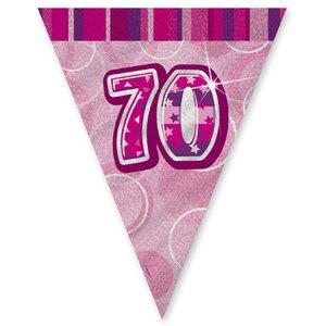 70-års födelsedag rosa vimpelbanderoll - plast 3,65m