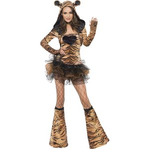 Tigerklänning med huva - maskeraddräkt