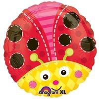 Söt nyckelpiga rund folieballong - 46 cm