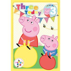 Greta gris 3-års födelsedagskort