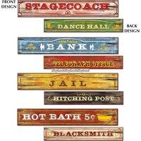 Western skyltar pappfigurer flerfärgade - 60 cm - 4 st