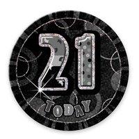 Svart 21-års födelsedagsknapp - 15 cm