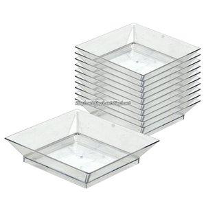 Fyrkantiga fat av transparent plast - 9cm - 10 st