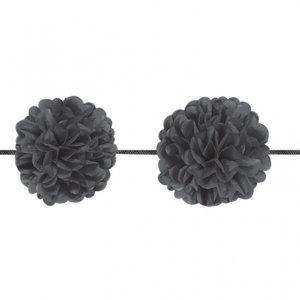 Girlang med svarta pom pom - 3.65m - 2 st