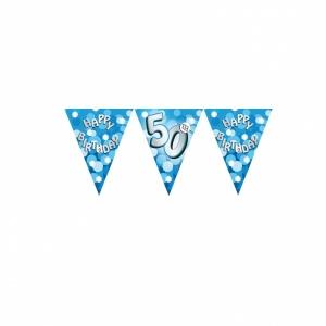 Vimpelbanderoll ljusblå för 50-årsdagen - 4m