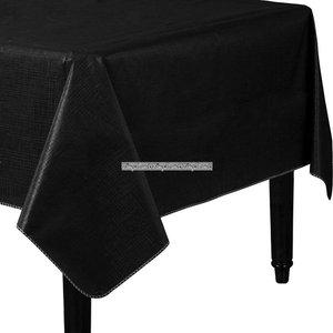 Jet svart bordsduk i vinyl med flanell baksida - 132cm x 228cm