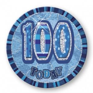 100-års födelsedagsemblem - blå - 15 cm