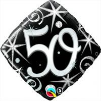Svart ruterformad folieballong för 50-årsdagen - 46 cm