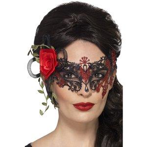 Ögonmask med ros - Svart/Röd