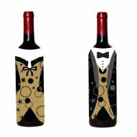 Vinflasksöverdrag som kostym och klänning - 2 st