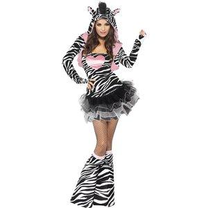 Zebra-klännin med huva - maskeraddräkt
