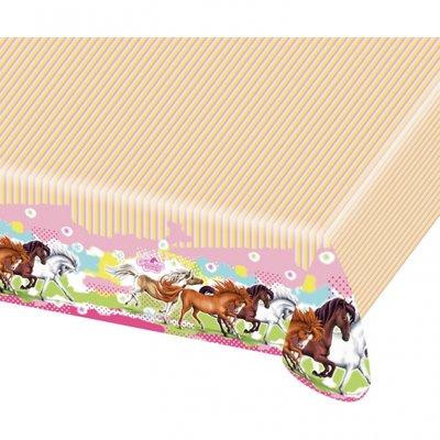 Charmerande hästar bordsduk i plast till festen