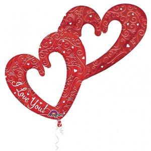 Folieballong - Interlocking Hearts Red