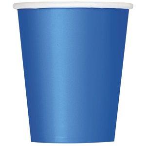 Blå pappersmuggar - 27 cl 8 st
