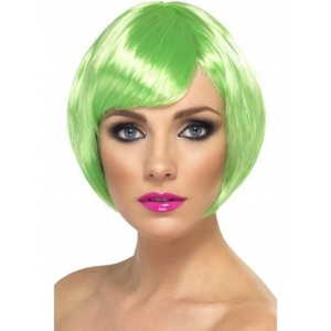 Kort page grön peruk