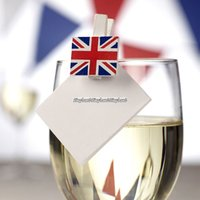 Brittiska flaggan - glasdekorationer med små träklämmor - 20 st