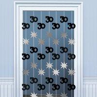 30-års dörrgardin svart / silver - 1.98m