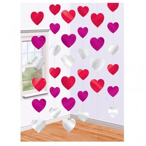 Alla hjärtans dag festdekoration - hängande hjärtan på snöre 2,1 m- 6 st
