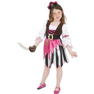 Piratbarn maskeraddräkt rosa