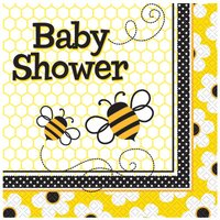 Baby shower 2-lagers busy bees lunchservetter 33 cm - 16 st
