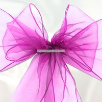 Fuchsia-lila stoldekoration i organza - 6 st