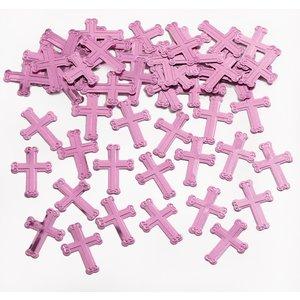 Bordskonfetti - glänsande rosa kors 14 g