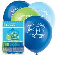 Sköldpadda 1-års födelsedagsballonger - 30 cm latex - 8 st