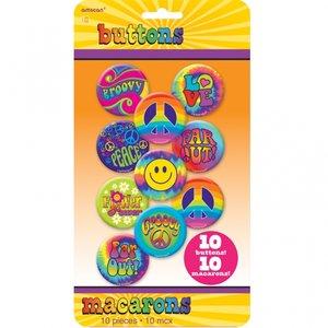 60-tals Feeling Groovy - Knapp / badge - 10 st